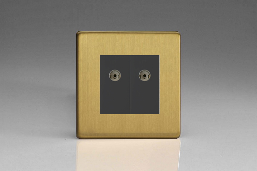 XDBG88BS Varilight 2 Gang (Double), Co-axial TV Socket, Dimension Screwless Brushed Brass Effect