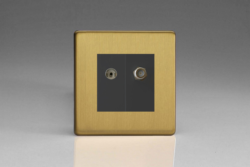 XDBG88SBS Varilight 2 Gang (Double), Co-axial TV and Satellite Socket, Dimension Screwless Brushed Brass Effect