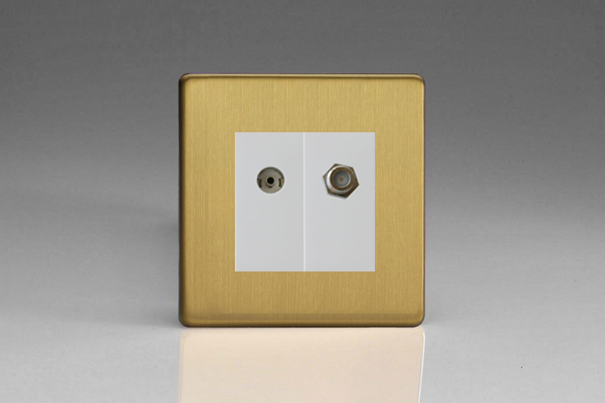 XDBG88SWS Varilight 2 Gang (Double), Co-axial TV and Satellite Socket, Dimension Screwless Brushed Brass Effect