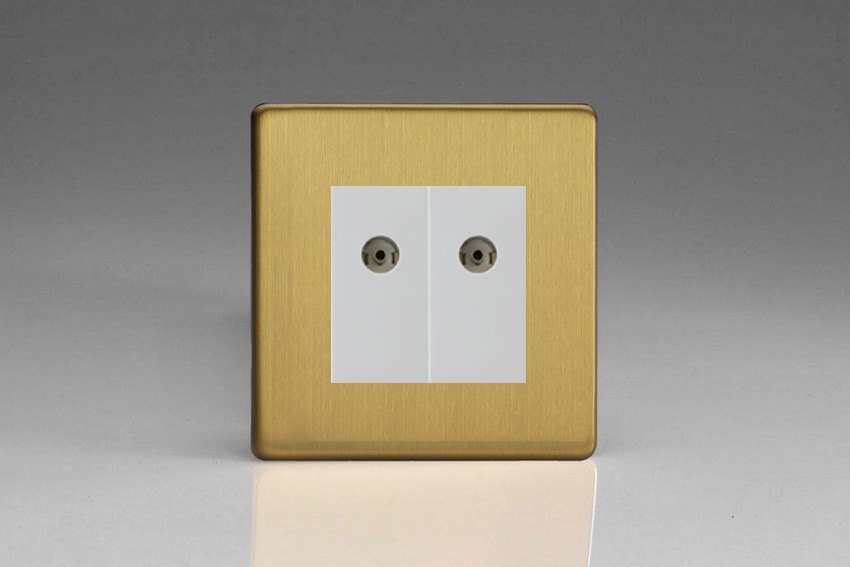 XDBG88WS Varilight 2 Gang (Double), Co-axial TV Socket, Dimension Screwless Brushed Brass Effect