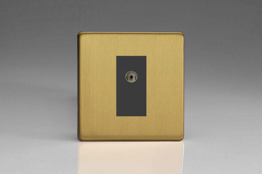XDBG8BS Varilight 1 Gang (Single), Co-axial TV Socket, Dimension Screwless Brushed Brass Effect with Black insert