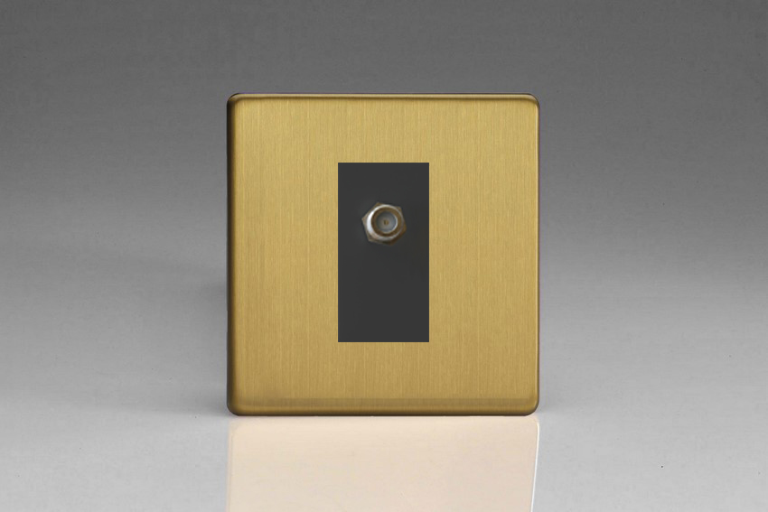 XDBG8SBS Varilight 1 Gang (Single), Satellite TV Socket, Dimension Screwless Brushed Brass Effect with Black insert