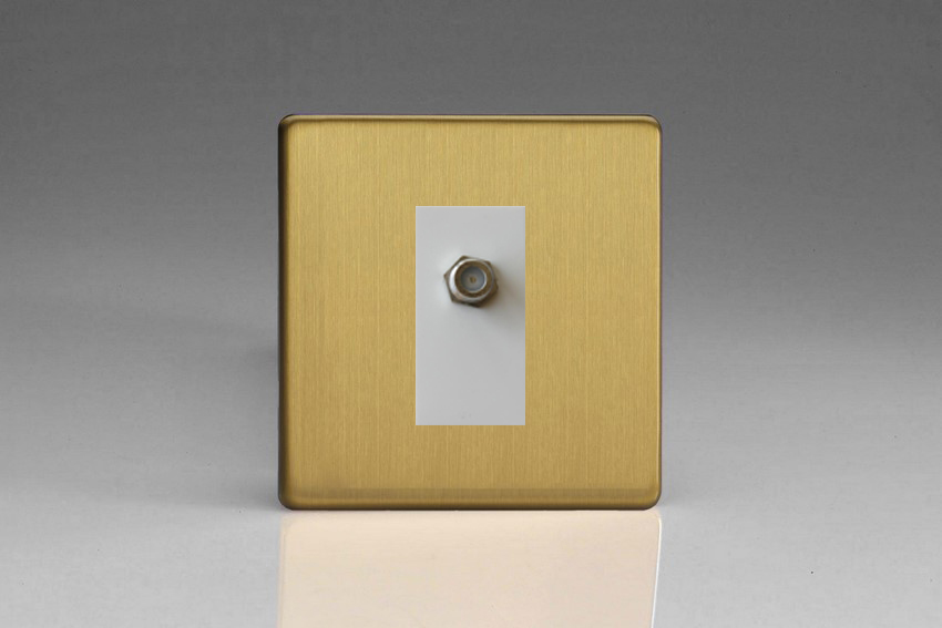 XDBG8SWS Varilight 1 Gang (Single), Satellite TV Socket, Dimension Screwless Brushed Brass Effect with White insert