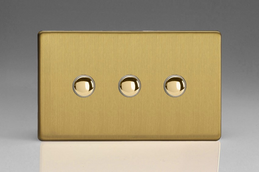 XDBP3S Varilight 3 Gang (Triple) 1 or 2 way 6 Amp Push-on Push-off Switch (impulse), Dimension Screwless Brushed Brass Effect