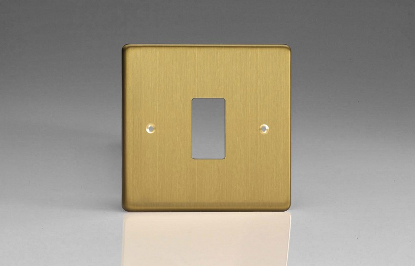 XDBPG1+ Varilight 1 Gang Brushed Brass Effect (Dimension Range) Faceplate including 1 Gang Power Grid Frame