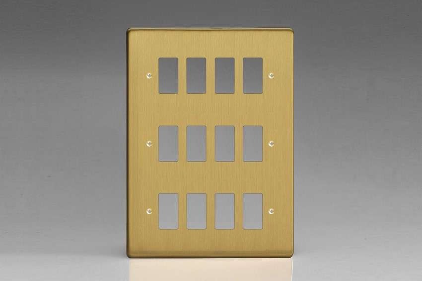 XDBPG12+ Varilight 12 Gang Brushed Brass Effect (Dimension Range) Faceplate including 12 Gang Power Grid Frame