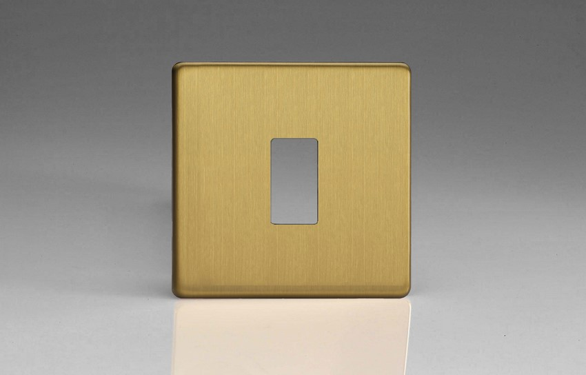 XDBPG1S+ Varilight 1 Gang Brushed Brass Effect Dimension Screwless Faceplate including 1 Gang Screwless Power Grid Frame