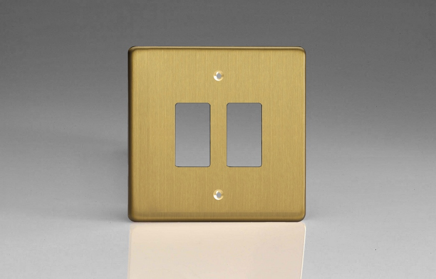 XDBPG2+ Varilight 2 Gang Brushed Brass (Dimension Range) Faceplate including 2 Gang Power Grid Frame
