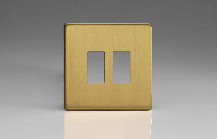 XDBPG2S+ Varilight 2 Gang Brushed Brass Dimension Screwless Faceplate including 2 Gang Screwless Power Grid Frame