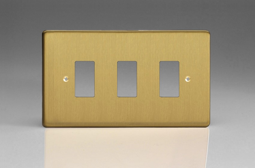 XDBPG3+ Varilight 3 Gang Brushed Brass Effect (Dimension Range) Faceplate including 3 Gang Power Grid Frame