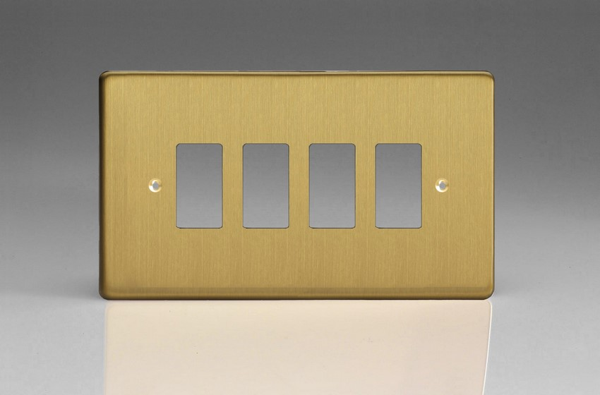 XDBPG4+ Varilight 4 Gang Brushed Brass Effect (Dimension Range) Faceplate including 4 Gang Power Grid Frame