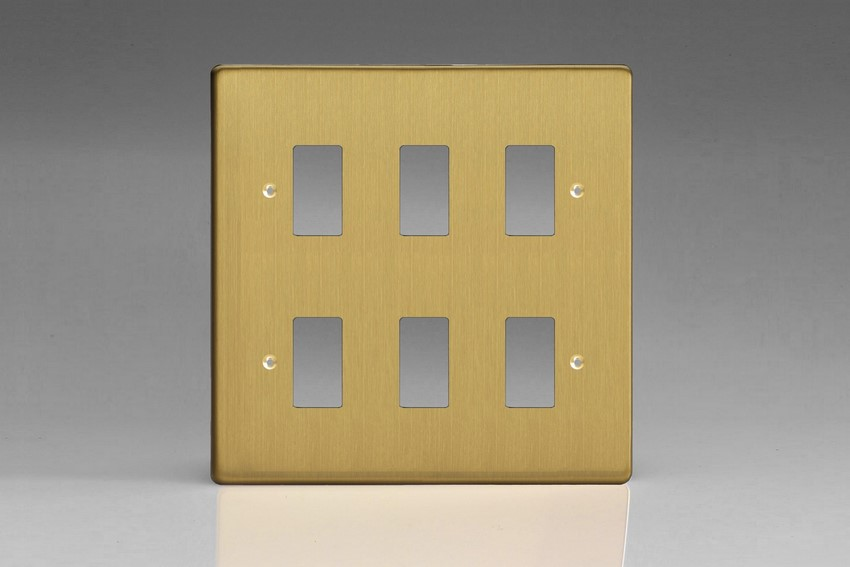 XDBPG6+ Varilight 6 Gang Brushed Brass (Dimension Range) Faceplate including 6 Gang Power Grid Frame