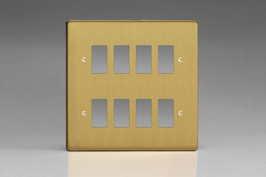 XDBPG8+ Varilight 8 Gang Brushed Brass Effect (Dimension Range) Faceplate including 8 Gang Power Grid Frame