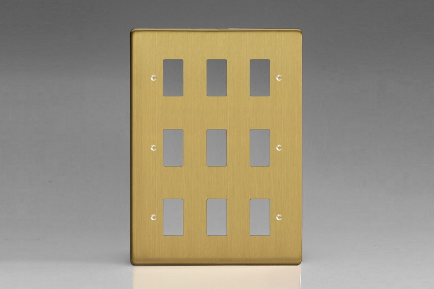 XDBPG9+ Varilight 9 Gang Brushed Brass Effect (Dimension Range) Faceplate including 9 Gang Power Grid Frame