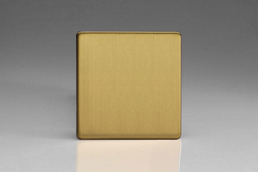 Varilight Single Blank Plate Screwless Brushed Brass