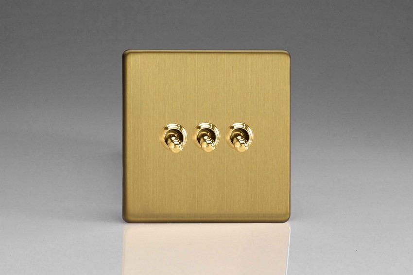 XDBT3S Varilight 3 Gang (Triple), 1 or 2 Way 10 Amp Classic Toggle Switch, Dimension Screwless Brushed Brass Effect