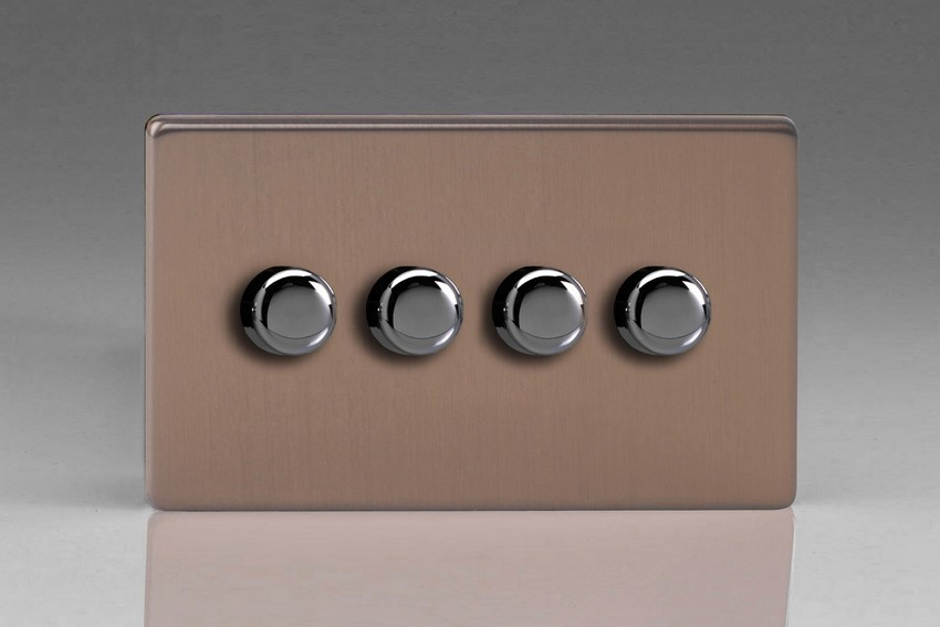 Varilight V-Pro Series 4 Gang 0-120W Trailing Edge LED Dimmer Screwless Brushed Bronze