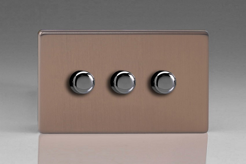 Varilight V-Pro Series 3 Gang 0-120W Trailing Edge LED Dimmer Screwless Brushed Bronze