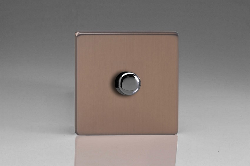 Varilight V-Pro Series 1 Gang 0-120W Trailing Edge LED Dimmer Screwless Brushed Bronze