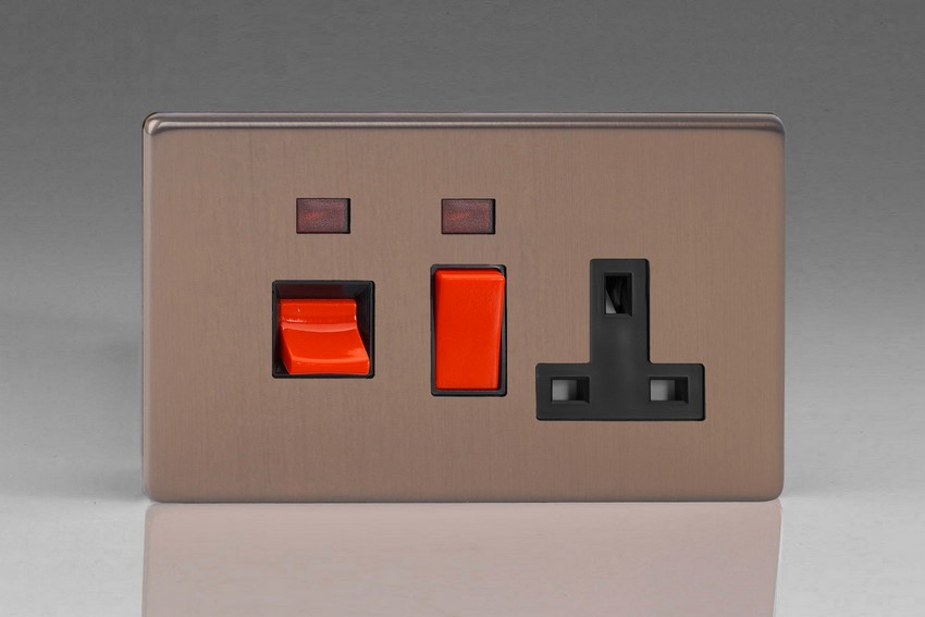 Varilight 45 Amp Double Pole Horizontal Cooker Panel with 13 Amp Switched Socket and Neon Screwless Brushed Bronze