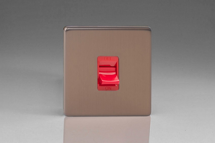 Varilight 45 Amp Double Pole Cooker Switch Screwless Brushed Bronze