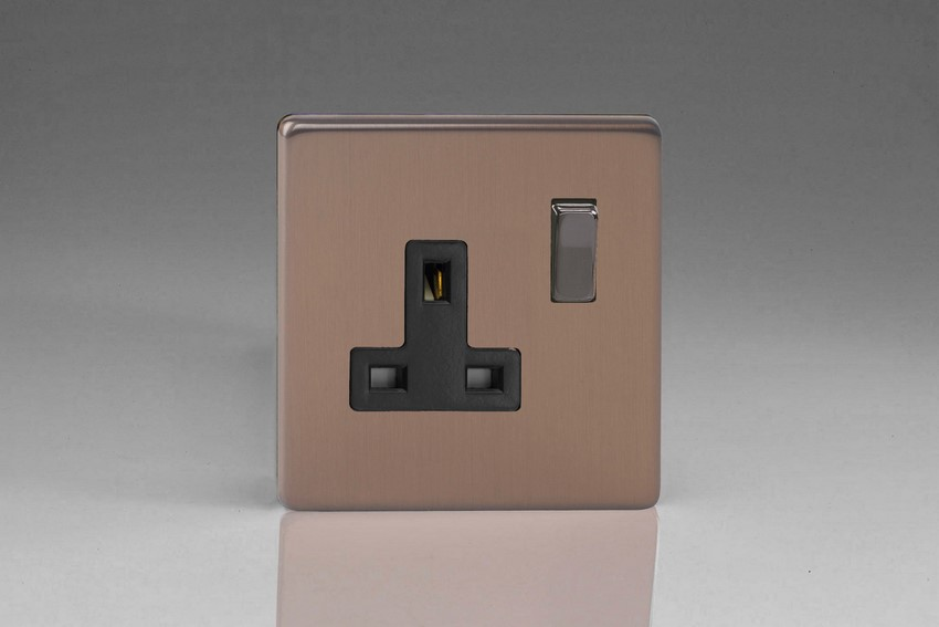 Varilight 1 Gang 13 Amp Double Pole Switched Socket Screwless Brushed Bronze