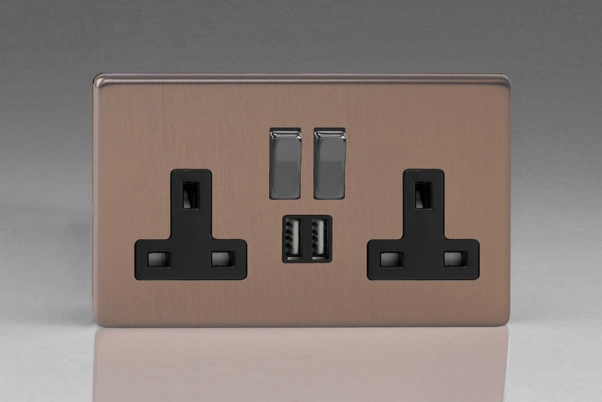 Varilight 2 Gang 13 Amp Single Pole Switched Socket with 2 x 5V DC 2.1 Amp USB Charging Ports Screwless Brushed Bronze