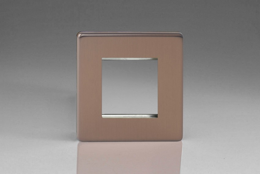 Varilight 2 Gang Data Grid Face Plate For 2 Data Module Widths Screwless Brushed Bronze