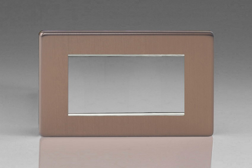 Varilight 4 Gang Data Grid Face Plate For 3 or 4 Data Module Widths Screwless Brushed Bronze