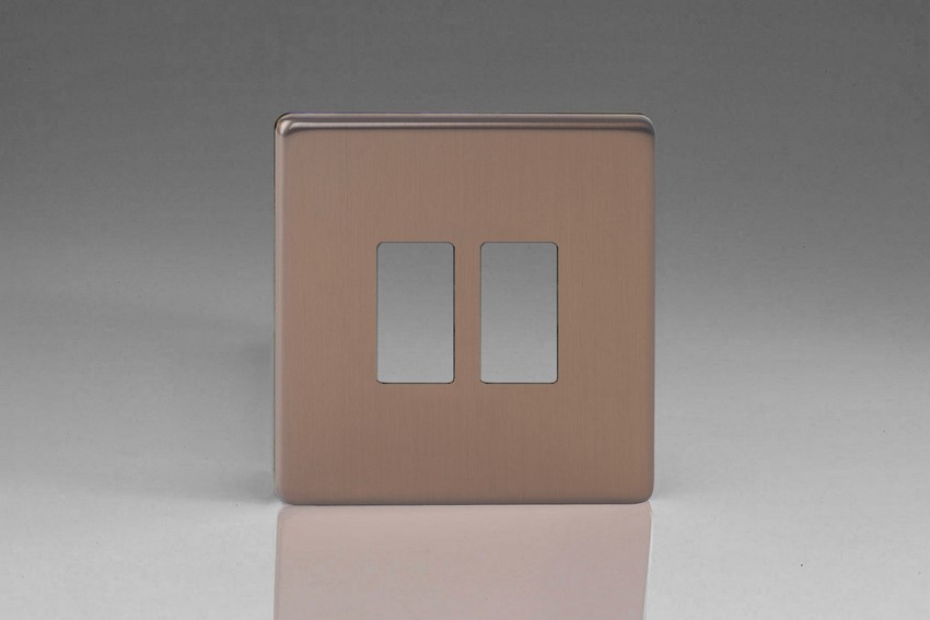 Varilight 2 Gang Power Grid Screwless Faceplate Including Screwless Power Grid Frames Screwless Brushed Bronze