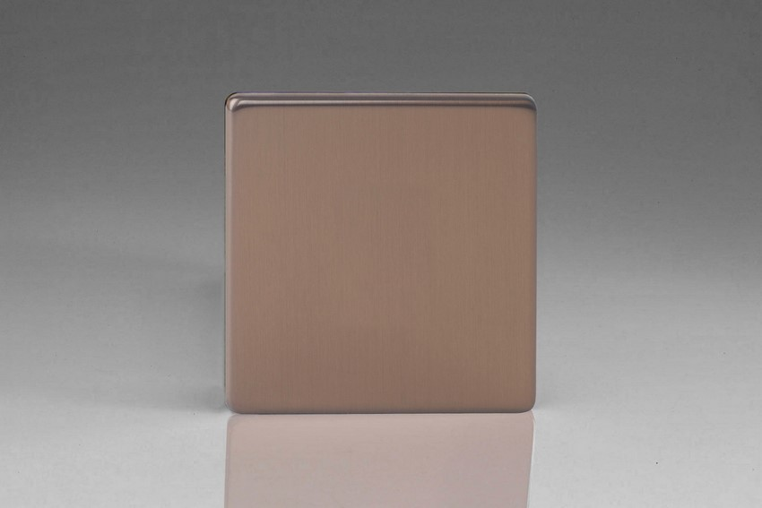 Varilight Single Blank Plate Screwless Brushed Bronze