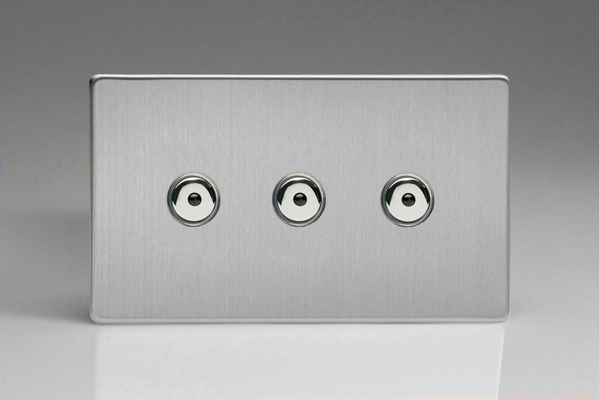 IJDSI103S Varilight V-Pro IR Series, Intelligent Programmable Master Dimmer, with Touch Sensitive Button and Centralised Remote Control Sensor - 3 gang, 0-100 Watts of LEDs, Dimension Screwless Brushed Steel