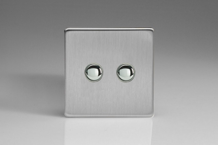 IJDSS002S Varilight V-Pro IR Series, 2 Gang Tactile Touch Button Slave Unit for 2 way or Multi-way Circuits Only, Dimension Screwless Brushed Steel