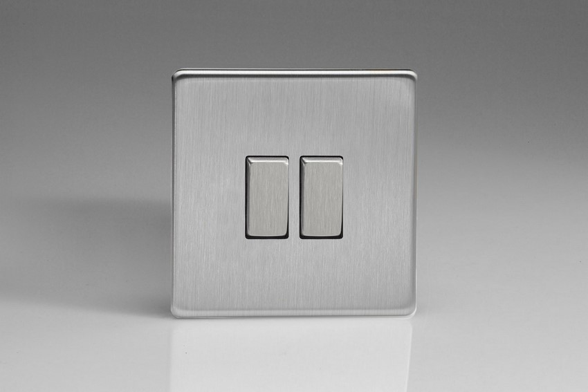XDS2S Varilight 2 Gang (Double), 1 or 2 Way 10 Amp Switch, Dimension Screwless Brushed Steel
