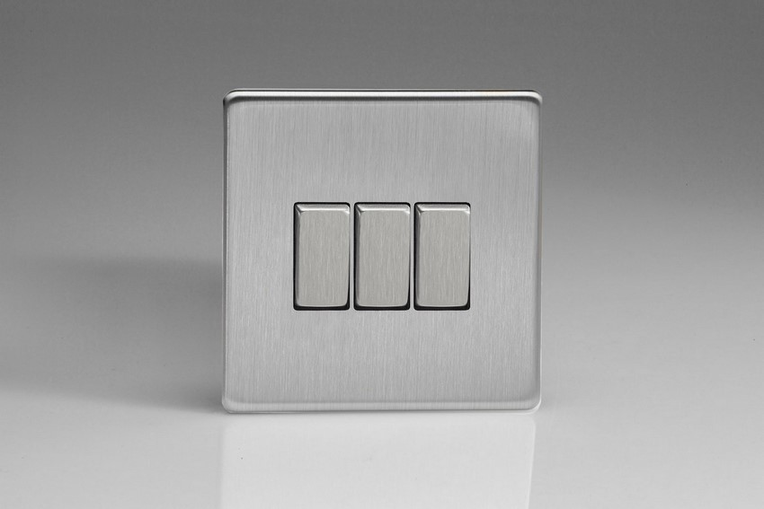 Varilight 3 Gang 10 Amp Switch Screwless Brushed Steel