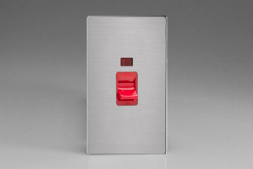 XDS45NWS Varilight 45 Amp Cooker Switch with Neon (Vertical Double Size), Dimension Screwless Brushed Steel