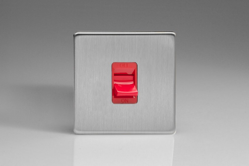 XDS45SBS Varilight 45 Amp Cooker Switch (Single Size), Dimension Screwless Brushed Steel