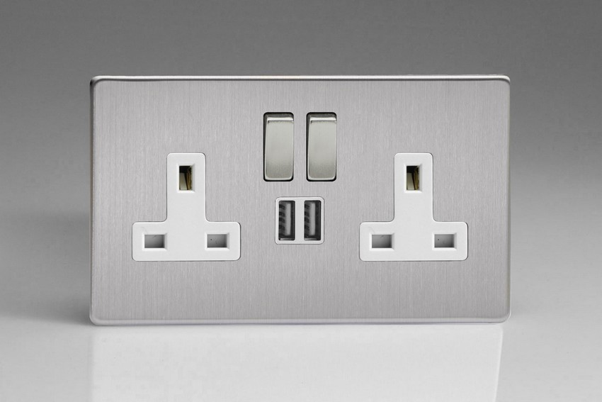 XDS5U2SWS Varilight 2 Gang 13A Single Pole Switched Socket + 2 x 5V DC 2100mA USB Charging Ports, White Insert & Brushed Steel Switches. Dimension Screwless Brushed Steel