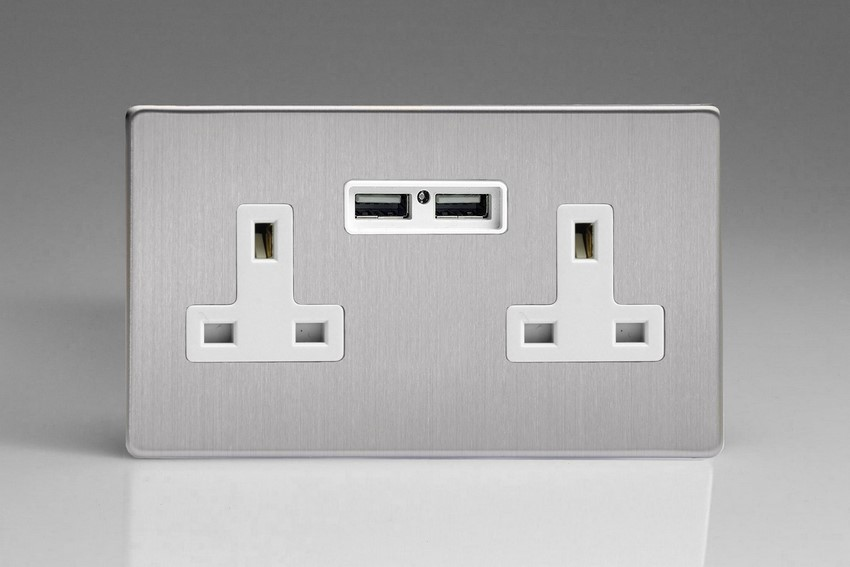 XDS5U2WS Varilight 2 Gang, 13 Amp Unswitched Socket with 2 Optimised USB Charging Ports, White Insert. Dimension Screwless Brushed Steel