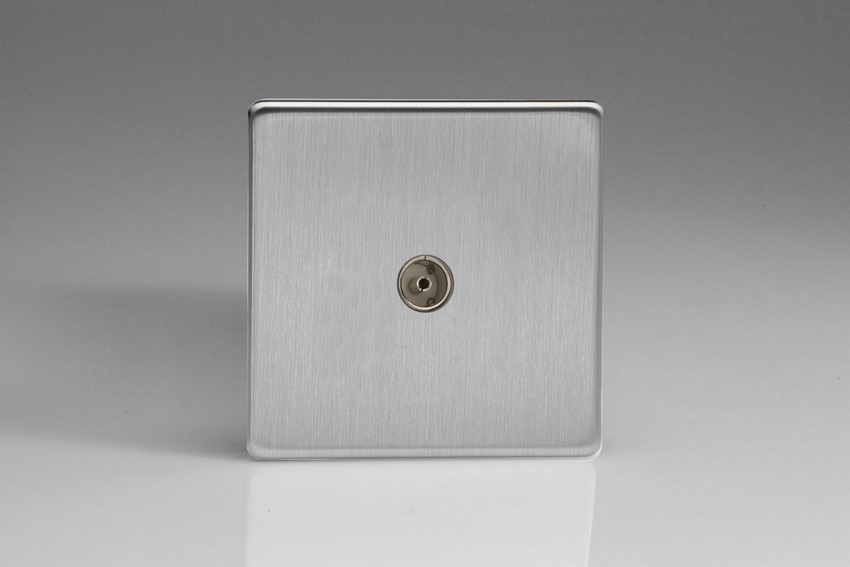 XDS8S Varilight 1 Gang (Single), Co-axial TV Socket, Dimension Screwless Brushed Steel