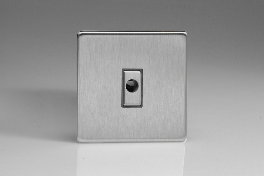 XDSFODS Varilight Flex Outlet Plate with Cable Clamp, Brushed Steel insert, Dimension Screwless Brushed Steel
