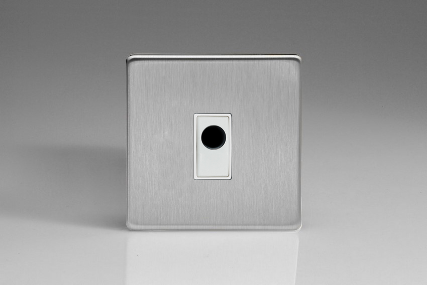 XDSFOWS-SP Varilight Flex Outlet Plate with Cable Clamp, White insert, Dimension Screwless Brushed Steel. (Bespoke & Special)