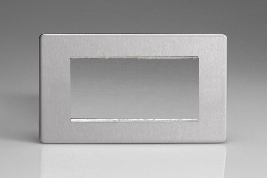 XDSG4S Varilight Double Size Data Grid Face Plate For 3 or 4 Data Modules, Dimension Screwless Brushed Steel (Double Plate)