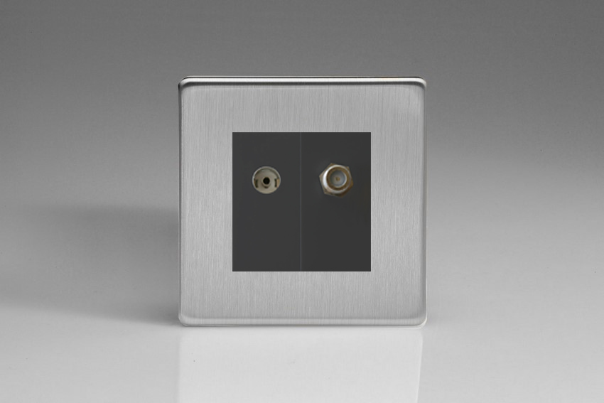 XDSG88SBS Varilight 2 Gang (Double), Co-axial TV and Satellite Socket, Dimension Screwless Brushed Steel