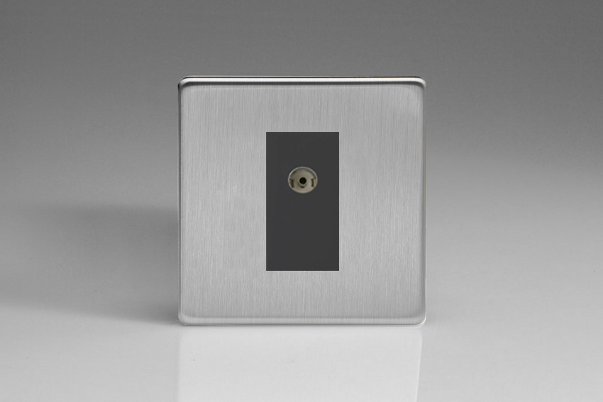 XDSG8BS Varilight 1 Gang (Single), Co-axial TV Socket, Dimension Screwless Brushed Steel with Black insert