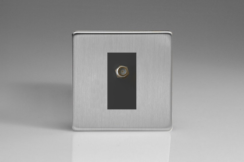 XDSG8SBS Varilight 1 Gang (Single), Satellite TV Socket, Dimension Screwless Brushed Steel with Black insert