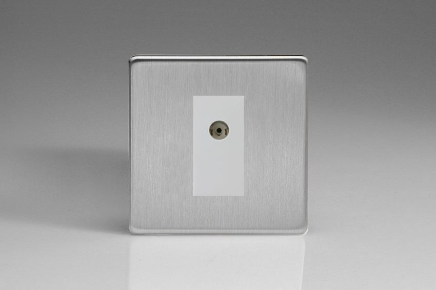 XDSG8ISOWS Varilight 2 Gang (Double), Isolated Co-axial TV Socket, Dimension Screwless Brushed Steel