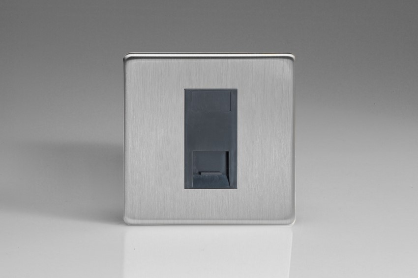 XDSGTMBS Varilight 1 Gang (Single), Telephone Master Socket, Dimension Screwless Brushed Steel Finish with Black insert