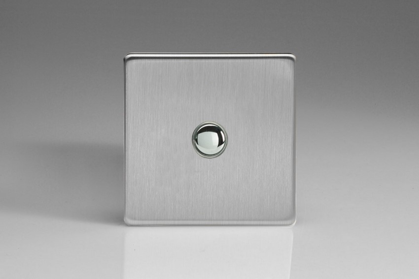 XDSP1S Varilight 1 Gang (Single) 1 or 2 way 6 Amp Push-on Push-off Switch (impulse), Dimension Screwless Brushed Steel