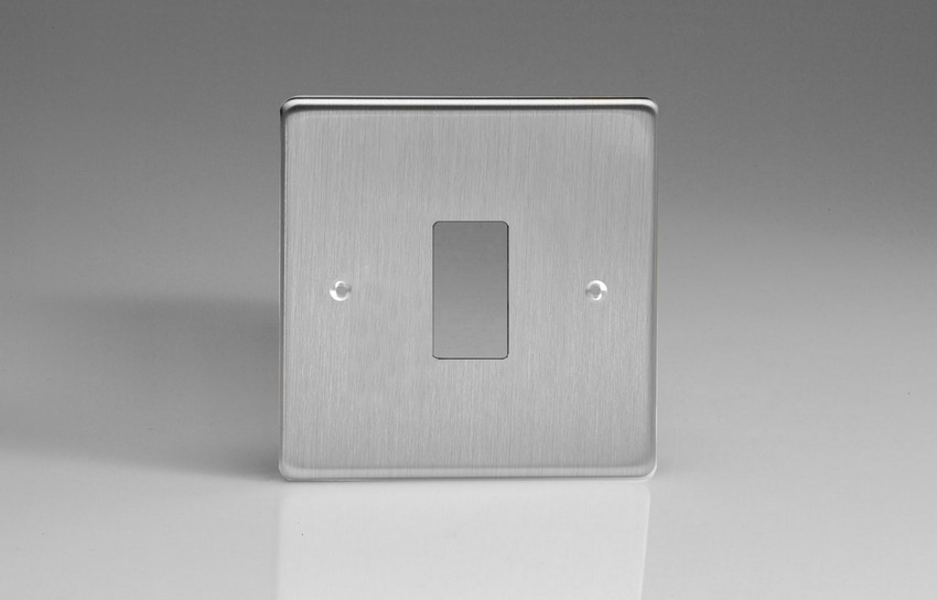 XDSPG1+ Varilight 1 Gang Brushed Steel (Dimension Range) Faceplate including 1 Gang Power Grid Frame
